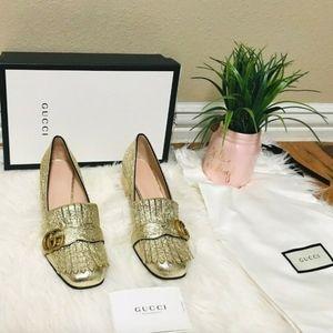 Gucci Marmont Gold Metallic shoes Galassia 37.5